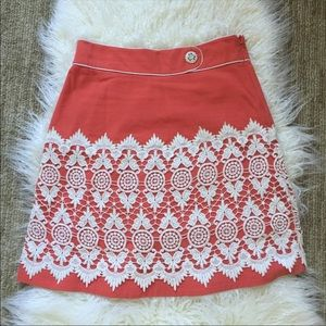 Anthro Floreat Walled City coral crochet skirt